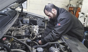 The shop handles all aspects of automotive service, and is known for their diagnostic skills. Pictured is ASE technician Blake Smith.