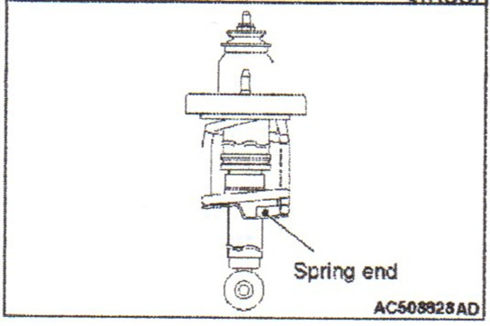 The bottom of the coil spring end must face the rear of the vehicle on  the left-hand side of the vehicle; and the spring end must face the  front of the vehicle on the left-hand side.