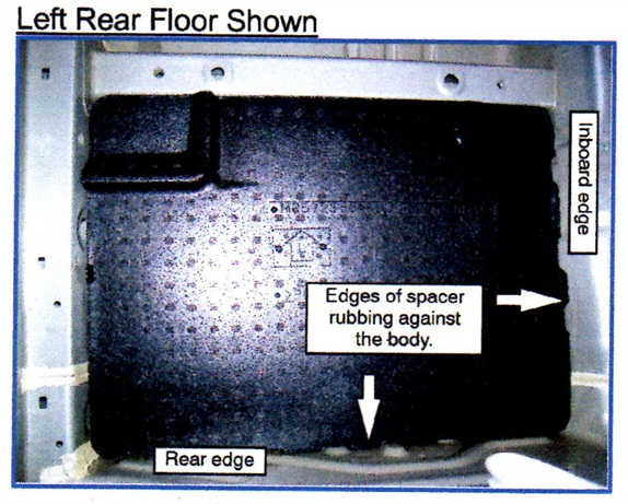 The rear and inboard edges of the floor spacers can be trimmed.