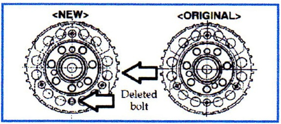 The sensing ring still features four bolt holes, but the crank only has three bolt holes.
