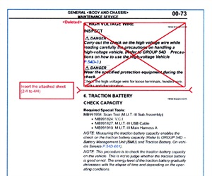 The service manual revision replaces the crossed-out version seen here.