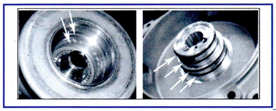 Inspect the groove wear, clearances and debris in the seal ring area.