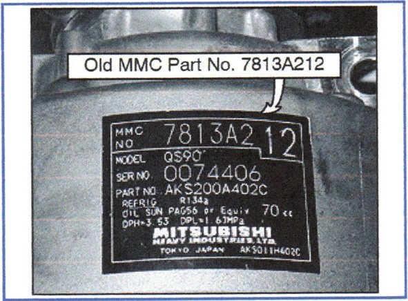 Check the part number of the compressor. If the existing part number is listed on the chart, this TSB does not apply.