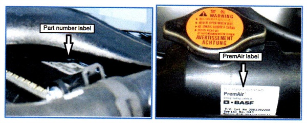 """To identify a DOR radiator, inspect the top tank for a part number label and/or a """"PremAir"""" label."""