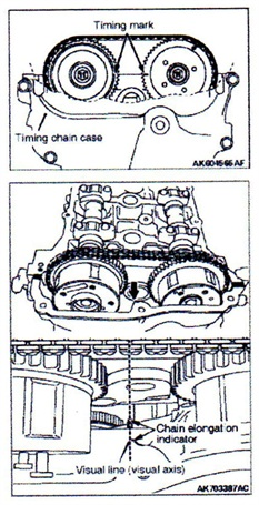 Timing chain elongation visual check.