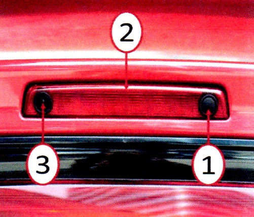1. Passive entry switch; 2. CHMSL; 3. rearview camera.
