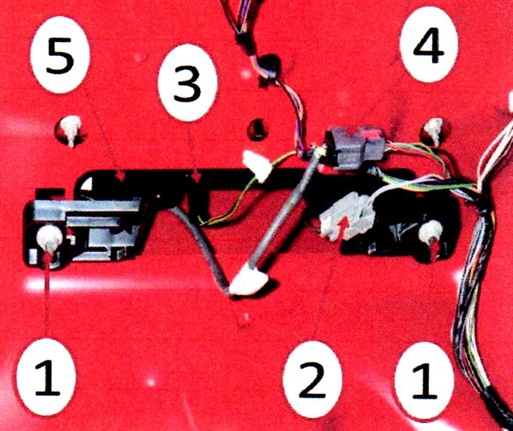 Center high mounted stop lamp – CHMSL. 1. Attaching fasteners; 2. passive entry switch connector; 3. CHMSL connector; 4. Rearview camera connector; 5. CHMSL assembly.