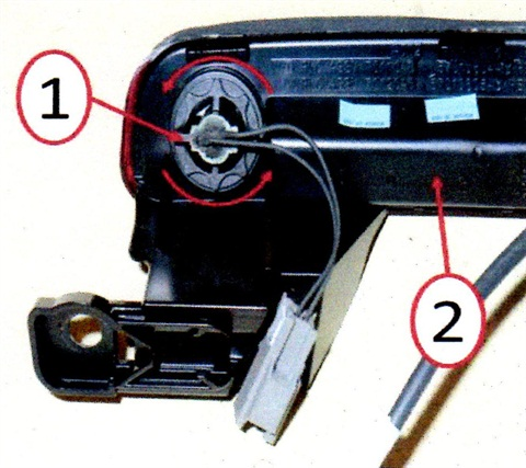 Passive entry switch location. 1. Passive entry switch; 2. CHMSL housing.