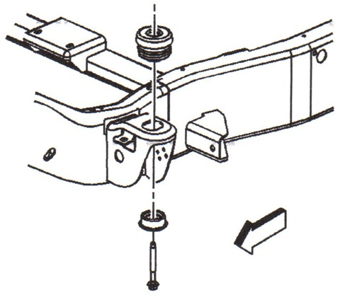 When removing a body mount, do not separate the frame from the body more than needed.