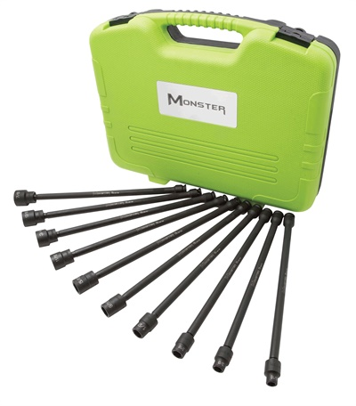The Monster brand is now offering metric and SAE XXL socket swivel sets.