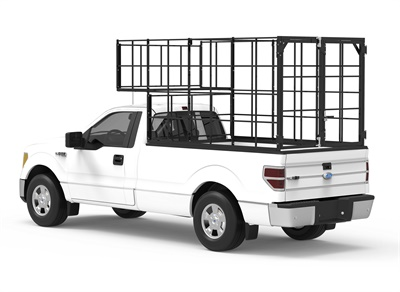 The section on top of the cab enables the MPTX-100 pickup truck tire cage to carry up to 100 tires.
