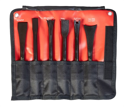 Mayhew says the tools in the new 6-piece non-turning pneumatic tool set lock into place for back and forth motion on same plane, which is ideal for cutting bolts, breaking welds, scraping off under coating, and cutting heads.