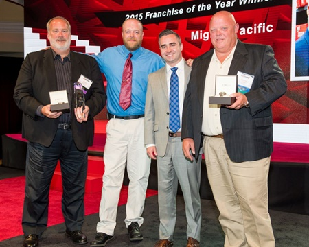(from left): Gary Schuler, Dave Blair, Reuben Wagner, Corey Akins accepted Mighty Pacific's franchise of the year award.