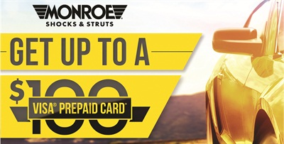 Motorists can get up to $100 back on the replacement of worn shock absorbers or struts and can join in the celebration of the Monroe 100th anniversary year.