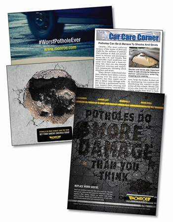 """Tenneco's """"Potholes"""" campaign urges drivers to have their vehicles inspected for issues that could affect safety through print, video and social media channels."""