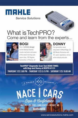 Bogi Lateiner and Donny Seyfer will demonstrate Mahle's TechPro scan tool at the 2015 NACE/CARS show in Detroit on July 23 and July 25.