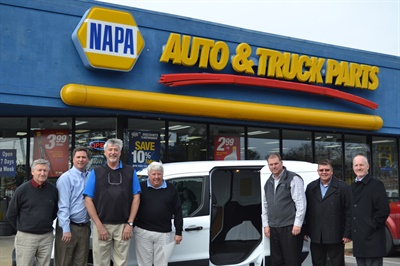 From left to right: Henry Walston, owner, NAPA Auto Parts, Barnes Motor & Parts Co.; Keith Flatley, DC general manager, Highpoint NAPA; Alan Hinnant, owner, NAPA Auto Parts, Barnes Motor & Parts Co.; Robert Kirkland, owner, NAPA Auto Parts, Barnes Motor & Parts Co.; Gordon Thorne, regional manager, Under Car, NAPA; Mike Douglas, DSM Under Car, NAPA, and Mike Kittelson, southeast regional sales manager, SKF.