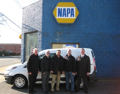 Left to right: Bruce Reames, regional manager, Under Car, NAPA; Mark Cunningham, Under Car representative, NAPA; Peter Kaftantzis, northeast regional sales manager, SKF; Rob Rodgers, owner, NAPA Auto Parts, Auto Parts of Carnegie; and Doug Dzikowski, DC general manager, Carrolltown NAPA.