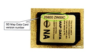 Note the SD Map data card version number location.