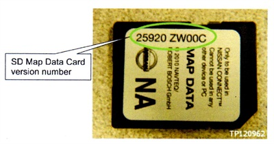 Note the location of the SD Map Data card version number.