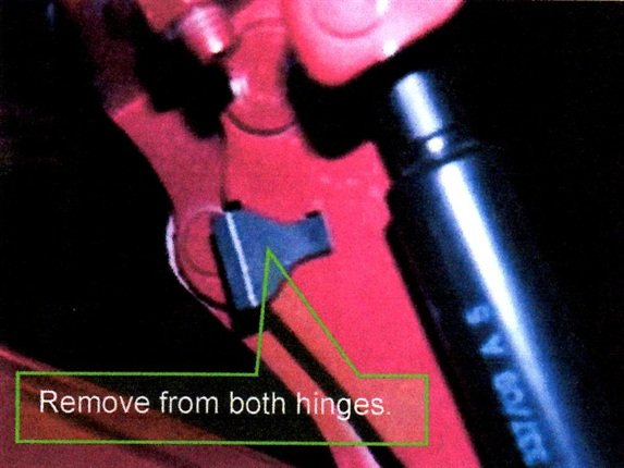 Remove both trunk lid stopper clips from RH and LH hinges (LH shown here).