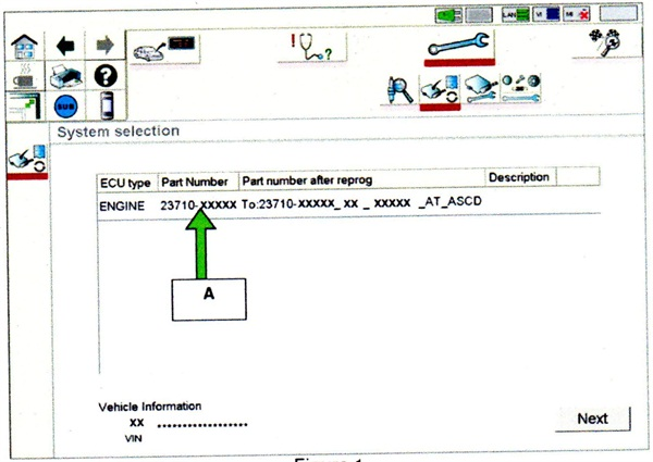 Figure 1. When you get to this ECM reprogramming screen, confirm that this bulletin applies. If the part number column is blank, this bulletin does not apply.