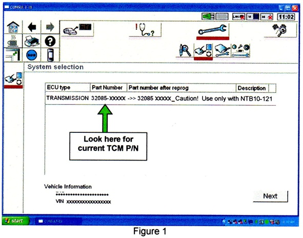 When you see the TCM reprogramming screen, note and record the transmission part number.