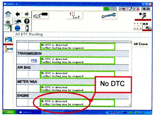 Erase all DTCs and confirm that ENGINE has no stored DTC.