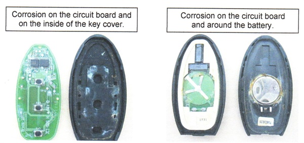 Separate the key housing and check for signs of liquid contamination,  including corrosion on the circuit board, signs of contamination on the  inside of the key cover, and corrosion around the battery.