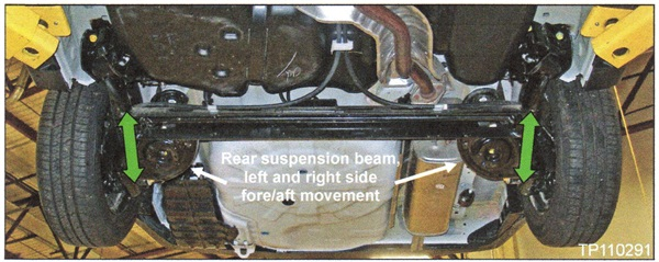 Vehicle on lift for illustrative purposes. The right and left rear  sides of the rear suspension beam may be adjusted for fore/aft movement.