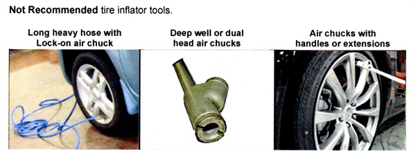 Types of inflator tools NOT recommended for use with TPMS.