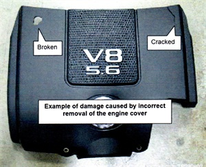 Example of a cover that was broken by pulling up at the front.