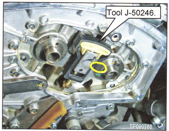 Figure 3. Install the new shoes to the tensioners using Tool J-50246,