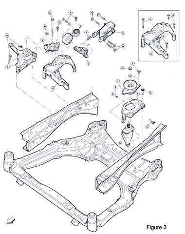 Once reprogramming is completed, replace the torque rod and lower torque rod (numbers 1 and 8 in this illustration) with the rods in the service kit.