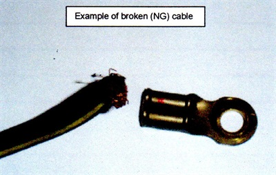 Closely inspect the negative battery cable for damage at the transmission end.