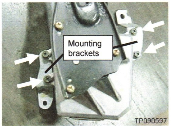 Mounting bracket screws may be re-used. Tighten to 51 in.-lbs. Each mounting bracket is secured with two screws.