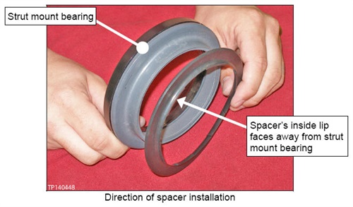 The spacer's inside lip faces away from the strut mount bearing.
