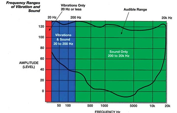 Humans are able to detect vibration and sound within a range of frequencies. The outlined area represents that range audible by humans.