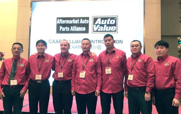 Pictured are charter members of the newly established China Aftermarket Auto Parts Alliance, which will go to market in China under the Auto Value brand.