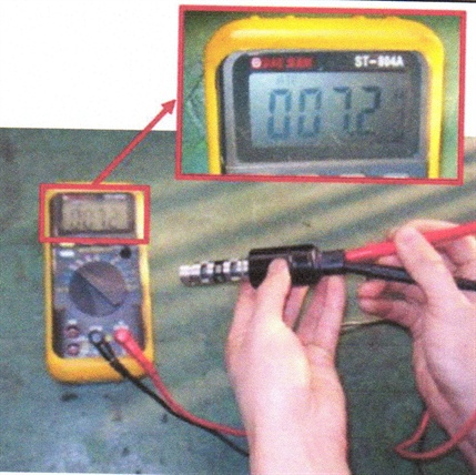 Measure resistance between the OCV terminals.