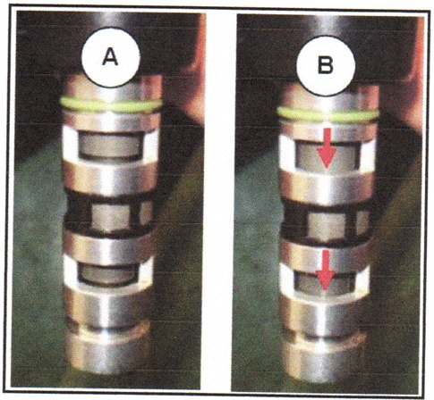 A: Maximum retarded valve timing condition (12V not provided). B:  Maximum advanced valve timing condition (12V provided). NOTE: Reverse  connection polarity if the movement is opposite.