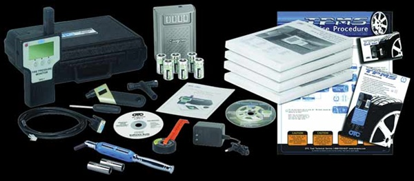 The OTC TPMS Master Kit includes a TPMS tool with the latest software subscription, activation magnet, quick start guide, reset procedure manual, update cable, CD training video, six rechargeable tool batteries and recharger, backup software CD, digital tire pressure gauge, four-way valve tool, valve core torque driver, application chart, and service procedure flow chart.
