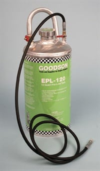 Before firing any freshly built engine, always pre-oil prior to cranking the engine. A pressurized pre-oiler tank is ideal for this. Shown here is Goodson's aluminum EPL-120.