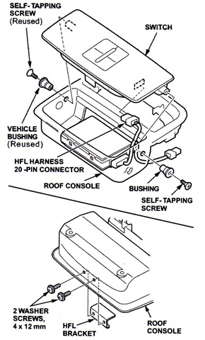 Note the location of the HFL control unit in the roof console. The self-tapping screws and bushings are located at each side of the console. Two washer screws secure the HFL bracket.