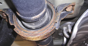 The support or hanger bearing is another common area of vibration due to rubber sag no longer keeping the shaft in the center.