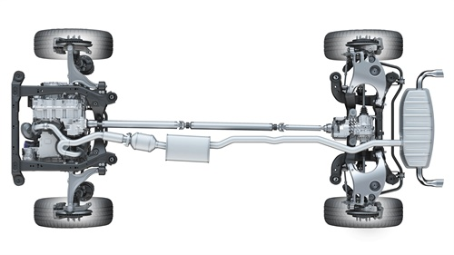 This under-chassis view is an example of an AWD system featured in the Cadillac SRX.