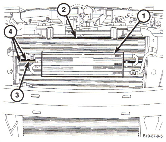 This illustration shows the larger power steering cooler installed on  the SRT model. Shown here are: SRT power steering cooler (1); first  cooler fin as a reference (2); power steering cooler mounting location  (3); and cooler fins 11 and 12 (4).