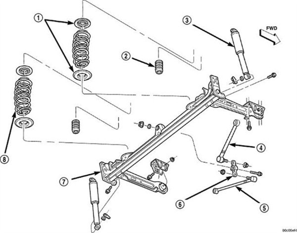 The watts link bellcrank is shown in this exploded view illustration, viewed from the forward side of the rear axle (identified here as part number 6).