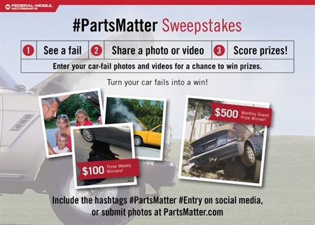 Federal-Mogul Motorarts says its #PartsMatter social media sweepstakes communicates the importance of choosing quality components for every repair.