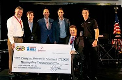Pennzoil has donated $75,000 raised from an oil change promotion to Paralyzed Veterans of America .